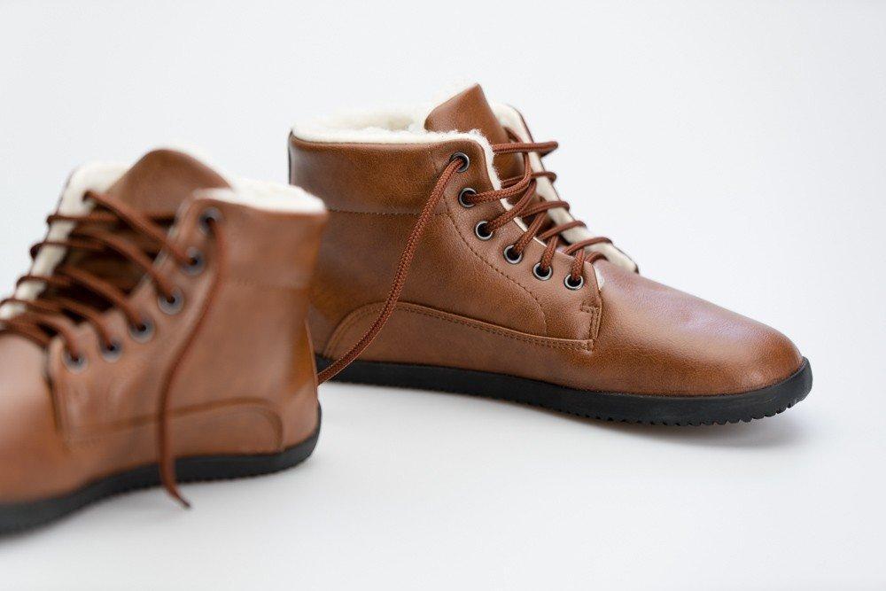 Ahinsa Shoes Winter Ankle Comfort Světle Hnědá 39