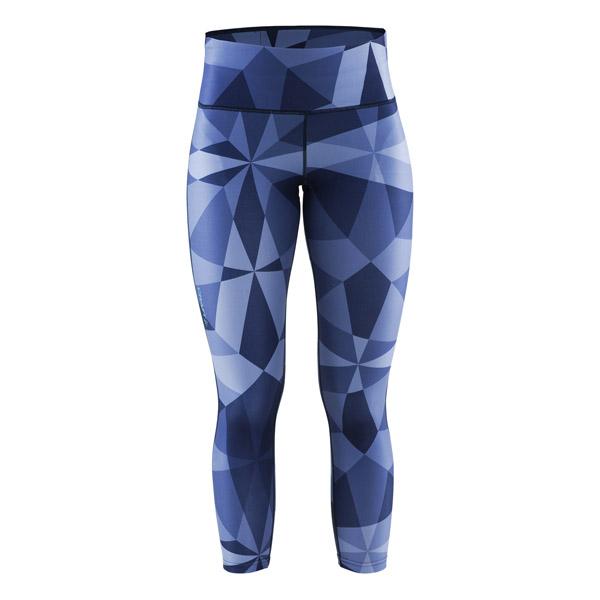 Craft W Kalhoty Pure Print 7/8 potisk tm.modrá M