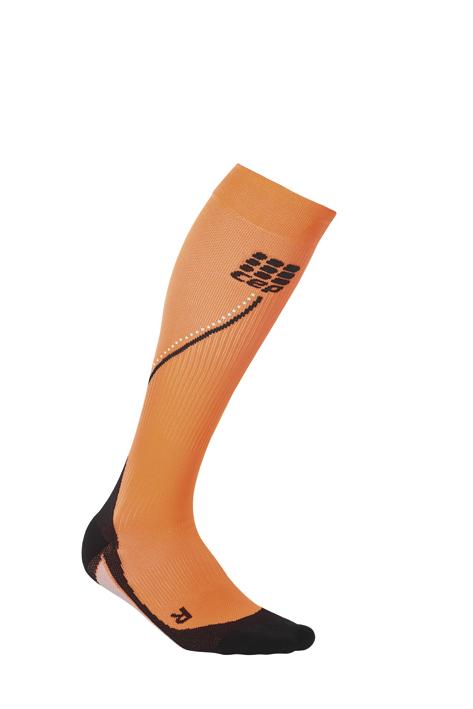 CEP Běžecké podkolenky NIGHT dámské reflexní oranžová II