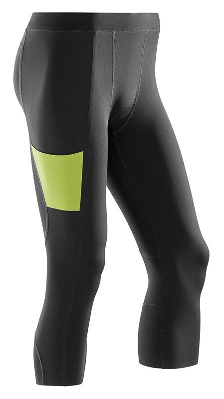 CEP 3/4 sportovní kalhoty PERFORMANCE pánské S černá / limetková II