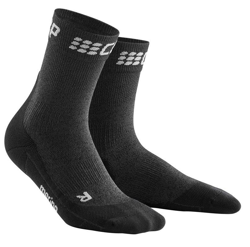 CEP Krátké zimní běžecké ponožky pánské šedá / černá III