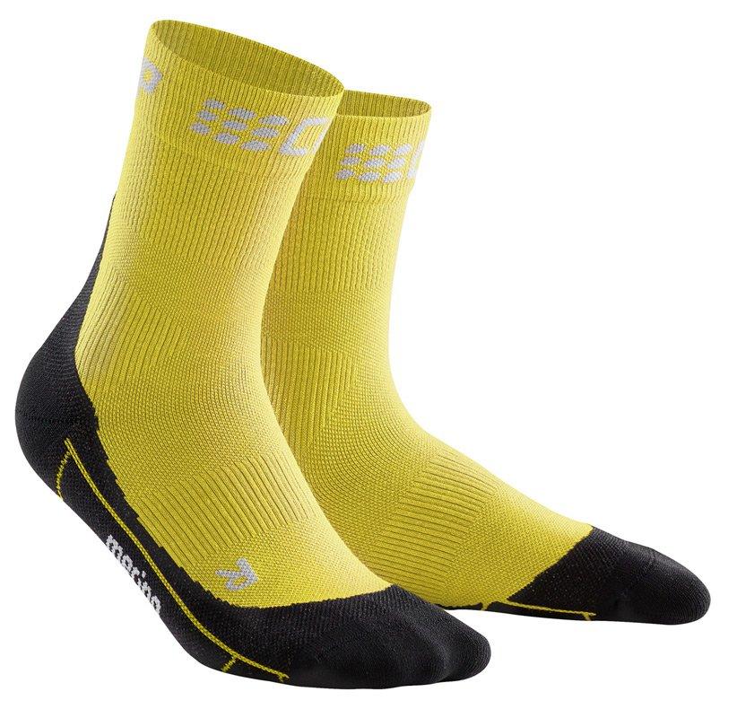 CEP Krátké zimní běžecké ponožky pánské žlutá / černá III
