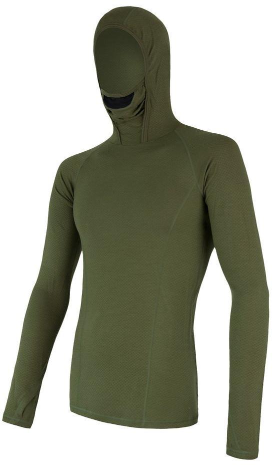 Sensor Merino Df pánské triko dl. rukáv s kapucí safari S