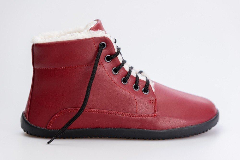 Ahinsa Shoes Winter Ankle Comfort Vínová 37