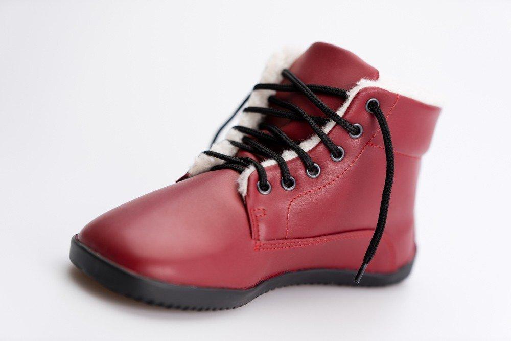 Ahinsa Shoes Winter Ankle Bare Vínová 37